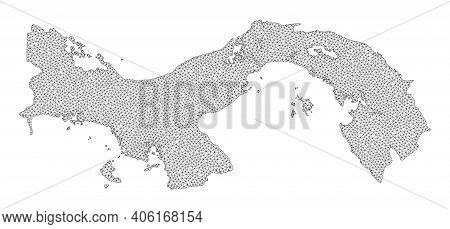 Polygonal Mesh Map Of Panama In High Resolution. Mesh Lines, Triangles And Points Form Map Of Panama