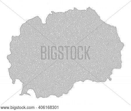 Polygonal Mesh Map Of Macedonia In High Detail Resolution. Mesh Lines, Triangles And Points Form Map