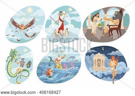 Mythology, Greece, Religion Set Concept. Mythological Religious Ancient Greek Series Of Flying Icaru
