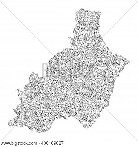 Polygonal Mesh Map Of Almeria Province In High Detail Resolution. Mesh Lines, Triangles And Points F