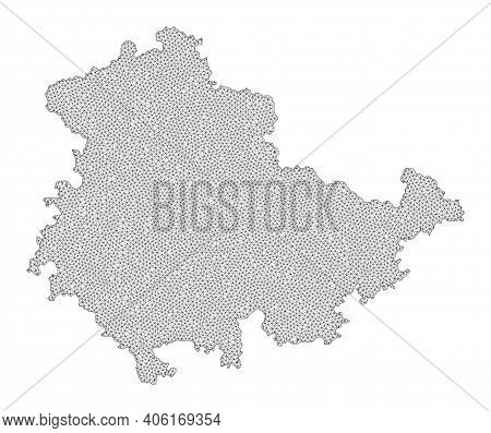 Polygonal Mesh Map Of Thuringia State In High Detail Resolution. Mesh Lines, Triangles And Points Fo
