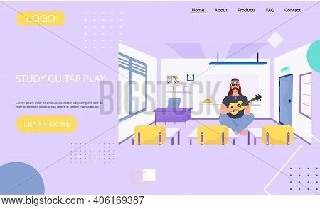 Website About Study Guitar Play. Male Bard Sits With Ukulele. Person Creates Music At School. Musici