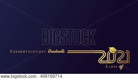 Class Of 2021 With Graduation Cap, Golden Lines Design. Congratulations Graduation Calligraphy Lette