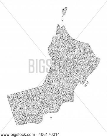 Polygonal Mesh Map Of Oman In High Detail Resolution. Mesh Lines, Triangles And Dots Form Map Of Oma