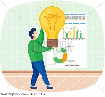 Man Develops Creative Business Idea Holding Bright Light Bulb Standing Near Whiteboard With Diagram.