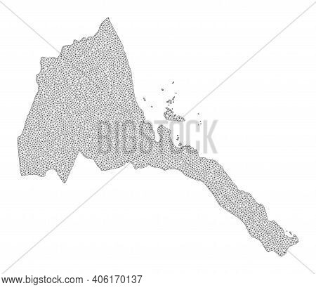 Polygonal Mesh Map Of Eritrea In High Resolution. Mesh Lines, Triangles And Dots Form Map Of Eritrea