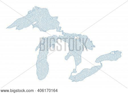 Polygonal Mesh Map Of Great Lakes In High Detail Resolution. Mesh Lines, Triangles And Dots Form Map