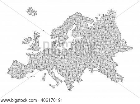 Polygonal Mesh Map Of Europe In High Detail Resolution. Mesh Lines, Triangles And Points Form Map Of