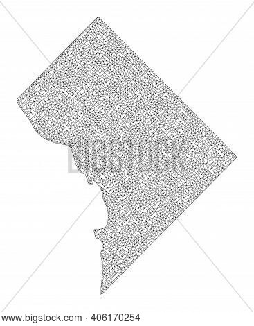 Polygonal Mesh Map Of District Columbia In High Detail Resolution. Mesh Lines, Triangles And Points