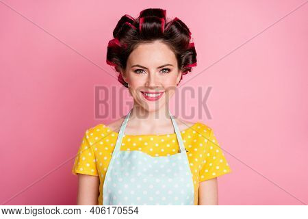 Close-up Portrait Of Her She Nice Attractive Cheerful Brown-haired Housewife Wearing Rollers Isolate