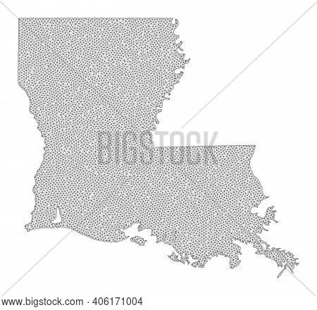 Polygonal Mesh Map Of Louisiana State In High Resolution. Mesh Lines, Triangles And Points Form Map