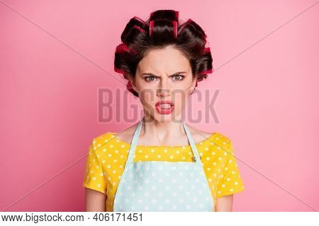 Close-up Portrait Of Her She Nice Attractive Annoyed Malicious Mad Aggressive Housewife Grimacing Bl