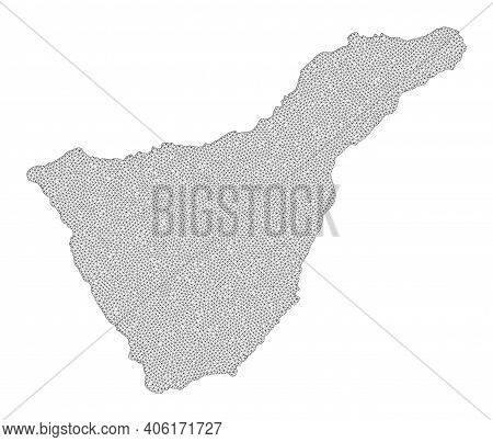 Polygonal Mesh Map Of Tenerife Island In High Detail Resolution. Mesh Lines, Triangles And Dots Form