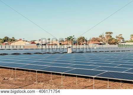New Solar Panel Farm Construction In A Living Area In South Australia