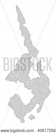 Polygonal Mesh Map Of Koh Phi Leh In High Resolution. Mesh Lines, Triangles And Points Form Map Of K