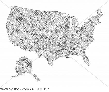 Polygonal Mesh Map Of Usa And Alaska In High Detail Resolution. Mesh Lines, Triangles And Points For