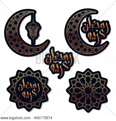Set Of Stickers For Ramadan. Ramadan Kareem Means Blessed Ramadan In Arabic Isolated On White - Vect
