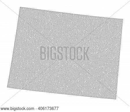 Polygonal Mesh Map Of Wyoming State In High Resolution. Mesh Lines, Triangles And Dots Form Map Of W
