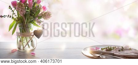 Table Decorating With Spring Flowers And Place Setting For A Wedding Menu On Gray Wooden Table, In B