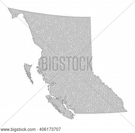 Polygonal Mesh Map Of British Columbia Province In High Detail Resolution. Mesh Lines, Triangles And