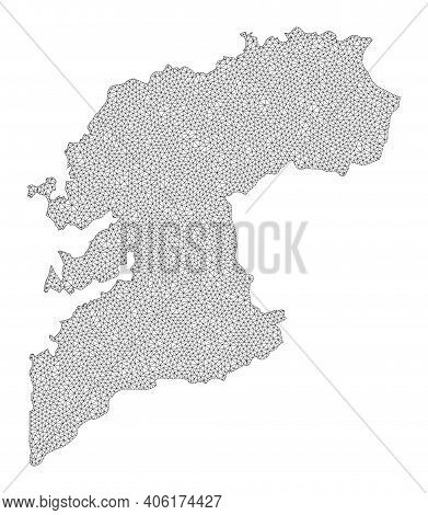 Polygonal Mesh Map Of Pontevedra Province In High Detail Resolution. Mesh Lines, Triangles And Dots