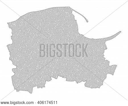 Polygonal Mesh Map Of Pomerania Province In High Resolution. Mesh Lines, Triangles And Points Form M