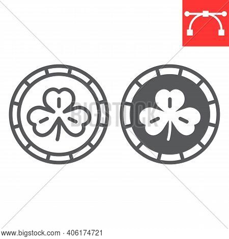 Coin With Three Leaf Clover Line And Glyph Icon, St. Patricks Day And Holiday, Golden Coin With Clov