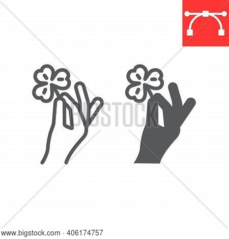 Hand Holding Clover Line And Glyph Icon, St. Patricks Day And Holiday, Hand Hold Lucky Clover Vector