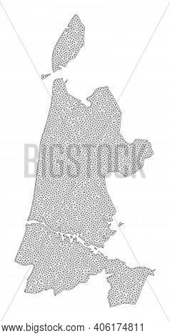 Polygonal Mesh Map Of North Holland In High Detail Resolution. Mesh Lines, Triangles And Points Form