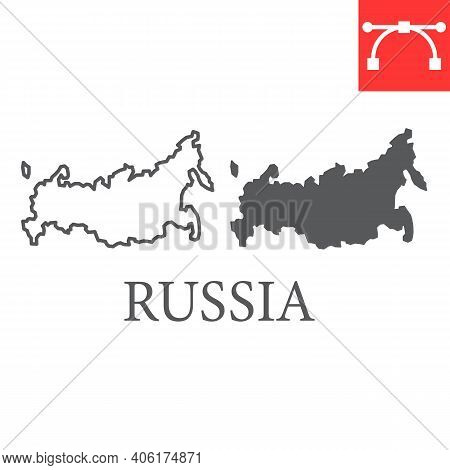Map Of Russia Line And Glyph Icon, Country And Geography, Russia Map Sign Vector Graphics, Editable