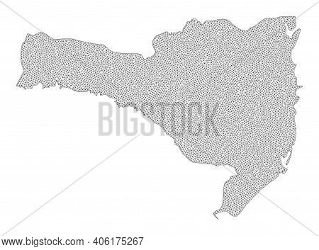 Polygonal Mesh Map Of Santa Catarina State In High Detail Resolution. Mesh Lines, Triangles And Poin