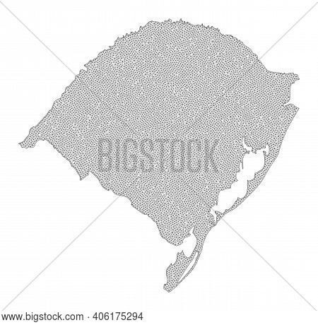 Polygonal Mesh Map Of Rio Grande Do Sul State In High Resolution. Mesh Lines, Triangles And Dots For
