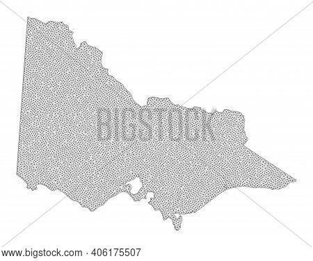 Polygonal Mesh Map Of Australian Victoria In High Detail Resolution. Mesh Lines, Triangles And Point