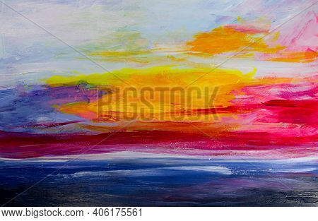 Abstract Acrylic Background Sunset On The Sea. Hand-drawn Illustration Of A Yellow Sun Setting In A