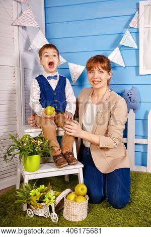 Mom Teach Baby To Sing Together. Child Possesses Certain Knowledge Skills. Mother Teaching Son Sing