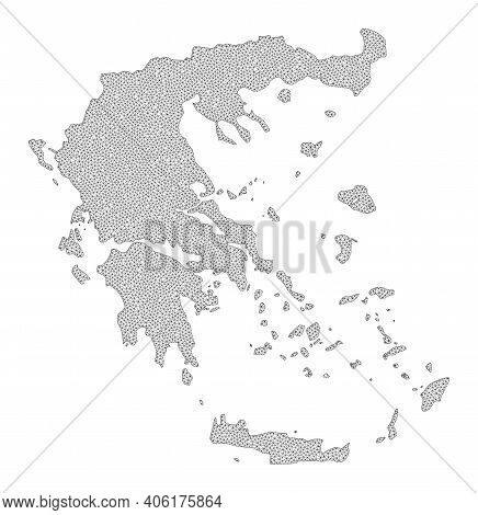 Polygonal Mesh Map Of Greece In High Detail Resolution. Mesh Lines, Triangles And Dots Form Map Of G