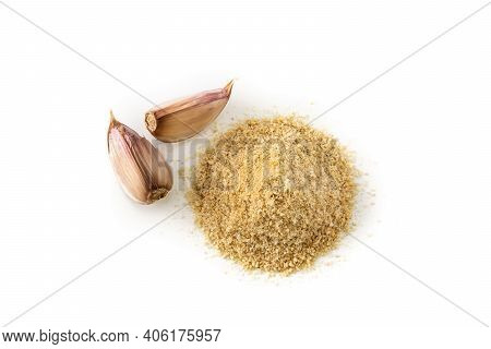 Garlic Cloves And Garlic Powder Isolated On White Background. Top View