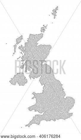 Polygonal Mesh Map Of United Kingdom In High Detail Resolution. Mesh Lines, Triangles And Dots Form