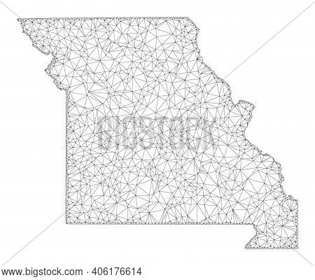 Polygonal Mesh Map Of Missouri State In High Resolution. Mesh Lines, Triangles And Points Form Map O