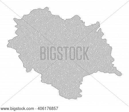 Polygonal Mesh Map Of Himachal Pradesh State In High Resolution. Mesh Lines, Triangles And Points Fo