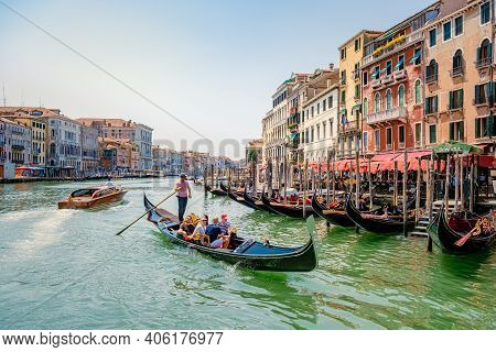 Canals Of Venice Italy During Summer In Europe, Architecture And Landmarks Of Venice. Italy Europe J