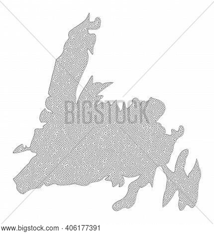 Polygonal Mesh Map Of Newfoundland Island In High Detail Resolution. Mesh Lines, Triangles And Dots
