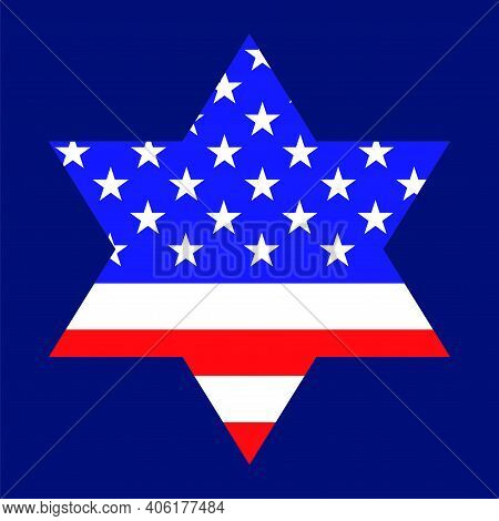 Star Of David With American Flag Inside. Religious Symbol
