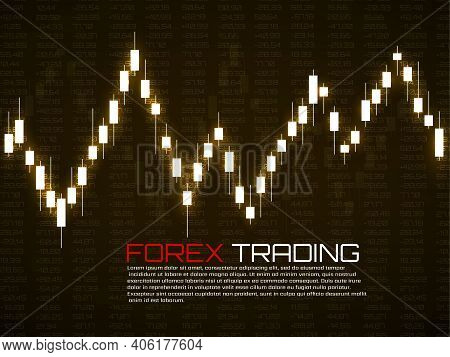 Stock Market With Glowing Japanese Candles. Forex Trading Graphic Design Concept. Abstract Finance B
