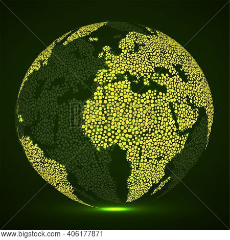 Abstract Glowing Globe Earth Of Round Dots, Neon World Map