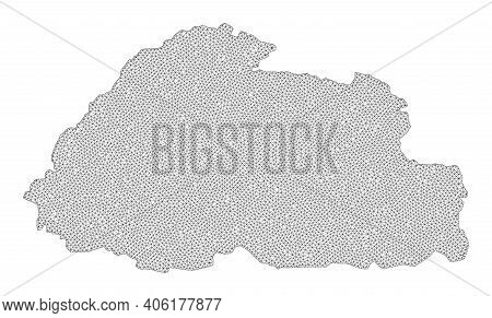 Polygonal Mesh Map Of Bhutan In High Resolution. Mesh Lines, Triangles And Points Form Map Of Bhutan