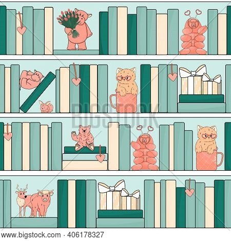 Seamless Pattern Of Bookcase With Pink Animals Toys. Hippo Is On His Back, Another Animal With Tulip