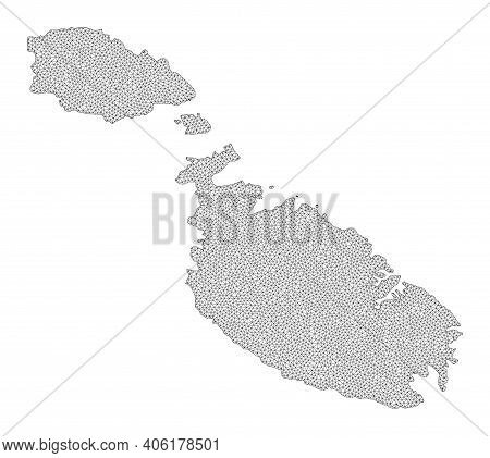 Polygonal Mesh Map Of Malta In High Resolution. Mesh Lines, Triangles And Dots Form Map Of Malta. Hi