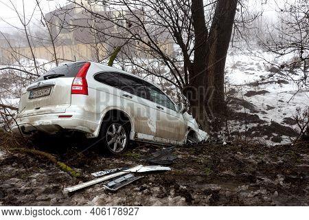 Odessa, Ukraine-1 Feb 2021: Traffic Accident. Car Drove Off Slippery Winter Road During Heavy Fog. B