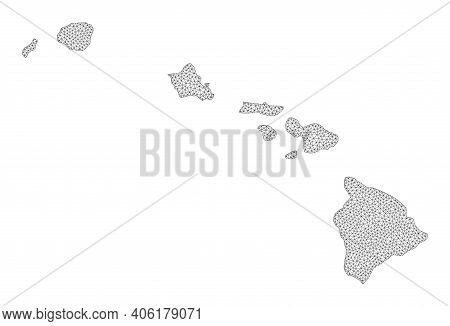 Polygonal Mesh Map Of Hawaii State In High Resolution. Mesh Lines, Triangles And Points Form Map Of